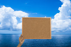 Holding a message board Royalty Free Stock Photography