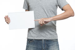 Holding a message board Stock Images