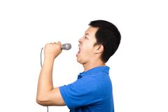 Holding microphone and singing Stock Photos