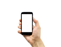 Holding mobile. Hand holding mobile smart phone with blank screen isolated on white Royalty Free Stock Photo