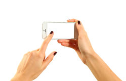 Holding mobile royalty free stock photography