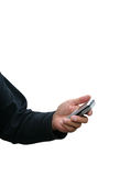 Holding mobile phone Royalty Free Stock Image