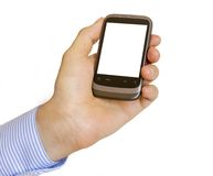 Holding Mobile Smart Phone In Hand Royalty Free Stock Photo