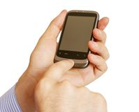Holding Mobile Smart Phone In Hand Royalty Free Stock Photography