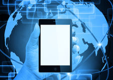 Holding mobile smart phone Royalty Free Stock Image
