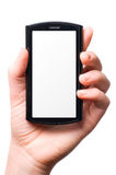 Holding a modern touch screen phone Royalty Free Stock Images