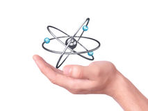 Holding molecule symbol in his hands Royalty Free Stock Photography