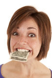 Holding money Stock Photos