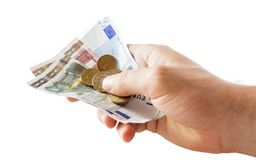 Holding money Stock Photography