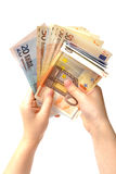 Holding a money Royalty Free Stock Photo