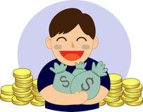 Hand holding money  bag. Hand holding money bag vector illustration Royalty Free Stock Photo