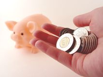 Holding Money and a Piggy Bank Royalty Free Stock Photo