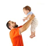 Holding my son, studio shutting. Father and baby son together stock image