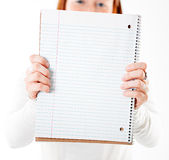 Holding notebook Royalty Free Stock Image
