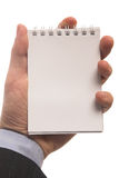 Holding notepad Stock Photo