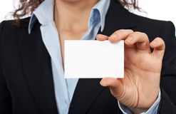 Holding one blank card Royalty Free Stock Images