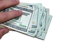 Holding One Thousand Dollars (with clipping path). Man holding one thousand dollars in 20 dollar bills, clipping path isolates the hands and money if desired Stock Photo