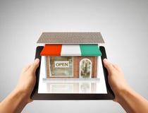Holding online shop Stock Photos