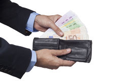 Holding Open Wallet Stock Images