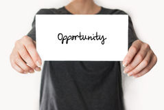 Holding an opportunity Stock Photo