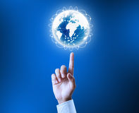 Holding our planet earth glowing Royalty Free Stock Photo