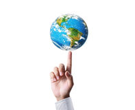 Holding our planet earth glowing Stock Images