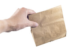 Holding paper bags, isolated Stock Photos