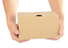 Holding a paper box Stock Photography