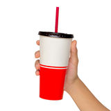 Holding a paper cup with tube isolated Stock Photos