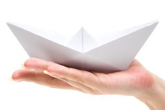 Holding a Paper Ship Stock Photos