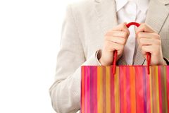 Holding paperbag Royalty Free Stock Images