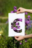 Holding papercut miniature euro over blooming flowers Royalty Free Stock Photos