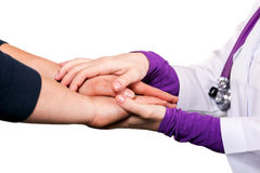 Holding patient`s hand. Giving help Royalty Free Stock Photography
