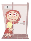 Holding pee too long. Cartoon girl holding pee in front of toilet Royalty Free Stock Images