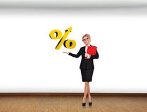Holding percentage symbol Stock Photo
