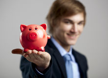 Holding a piggy bank Stock Image