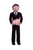 Holding Piggybank dell'uomo d'affari Fotografie Stock Libere da Diritti