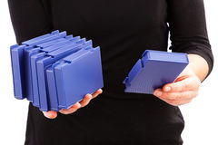 Holding Pile of DV Tapes Royalty Free Stock Photo