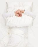 Holding pillow Royalty Free Stock Photo