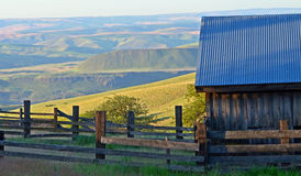 Holding pin overlooking Columbian gorge. This is a holding pin on the historic  Dalles Mt Ranch Stock Images
