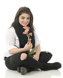 Holding Pink Posies in Black and Whtie Royalty Free Stock Photos