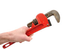 Holding Pipe Wrench in Hand. Isolated on White Stock Photos