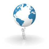 Holding the planet Earth with one finger Stock Image