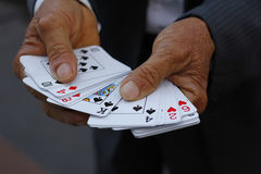 Holding playing cards Stock Photography