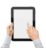 Holding and Point On Digital Tablet Stock Photos