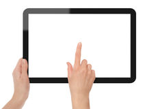 Holding and Point on Tablet PC. Include 3 clipping path (outer with hand, inner white, point hand). Isolated on white. XXXL size, ultra quality stock images