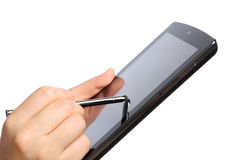 Holding And Point On Tablet PC Stock Images