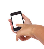 Holding and pointing at modern smart phone Stock Photos