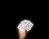 Holding Poker cards Royalty Free Stock Photography