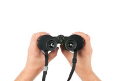 Holding Porro-prism binoculars Royalty Free Stock Photos